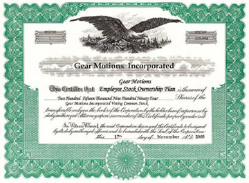 Employee Stock Ownership Plan Certificate
